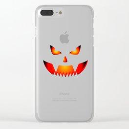 Scary Halloween Pumpkin print Gift For Halloween Party Clear iPhone Case