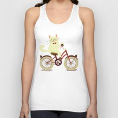 White cat on a bicycle Unisex Tank Top
