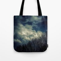 murakami Tote Bags featuring Evening Sky by Geni