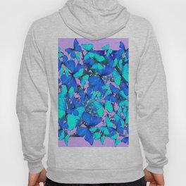 Blue Butterflies Pink Melange Art Hoody