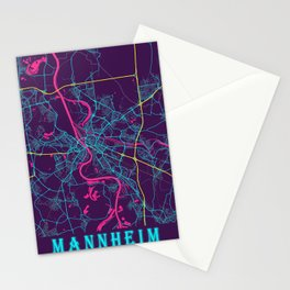 Mannheim Neon City Map, Mannheim Minimalist City Map Art Print Stationery Cards