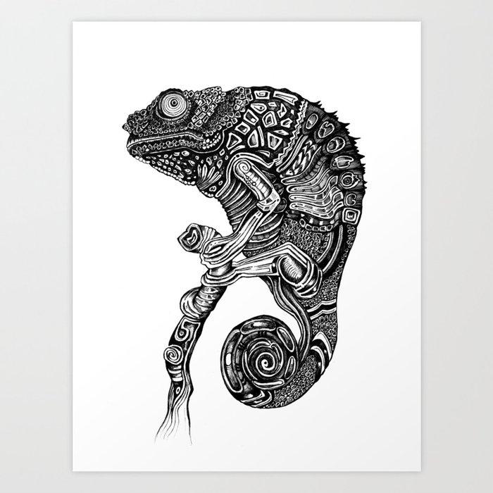 Chameleon Tattoo Designs Drawings: Chameleon Art Print By Bioshrimp