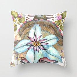 Flower Over Shell Throw Pillow