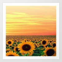 sunflower Art Prints featuring Sunflower by Don't Be A Dick
