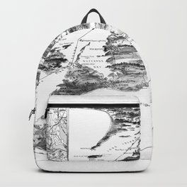 Vintage Cape Cod and NYC Steamboat Route Map BW Backpack