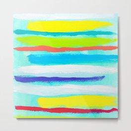 Ocean Blue Summer blue abstract painting stripes pattern beach tropical holiday california hawaii Metal Print