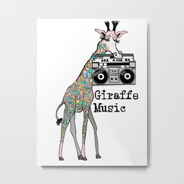 Giraffe Music Metal Print