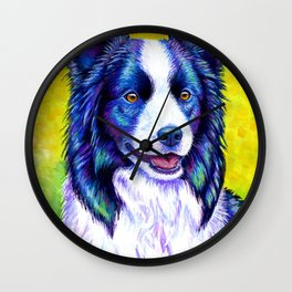 Colorful Border Collie Dog Wall Clock