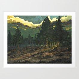 into dark forest Art Print
