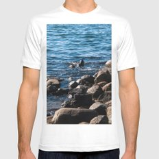 Rocks on the Water White MEDIUM Mens Fitted Tee