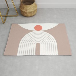 Geometric lines in Neutral Colors 18 (Rainbow and Sun Abstraction) Rug