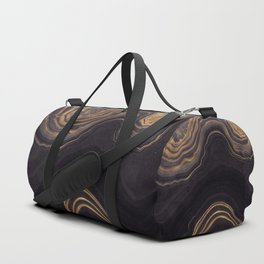 Dark Night Marble With Gold Glitter Waves Duffle Bag