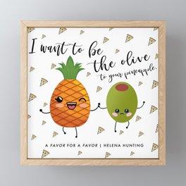Pineapple and Olive Pizza Confetti Framed Mini Art Print