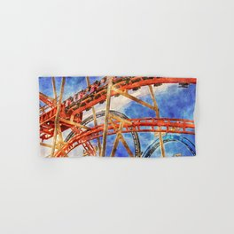Fun on the roller coaster, close up Hand & Bath Towel