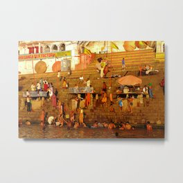 Bathing by the River Ganges Metal Print