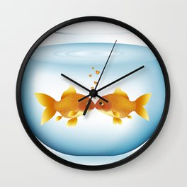 Love in the Fishbowl Wall Clock