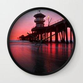 Christmas Sunset 2012 ~ Huntington Beach Pier, CA Wall Clock