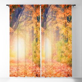 Autumnal forest watercolor painting #3 Blackout Curtain