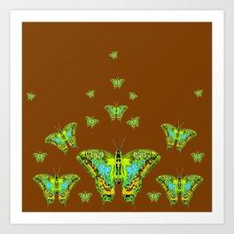 GREEN-YELLOW MOTHS ON COFFEE BROWN Art Print