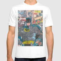 Vintage Comic Bat man Mens Fitted Tee White MEDIUM