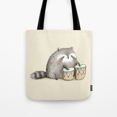 Raccoon on Bongos Tote Bag