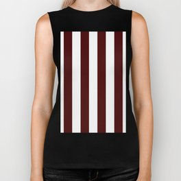 Narrow Stripes - White and Bulgarian Rose Red Biker Tank