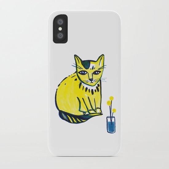 Yellow Cat with Craspedia by mishazadeh