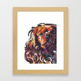 Ruby Cavalier King Charles Spaniel Dog Portrait Pop Art painting by Lea Framed Art Print