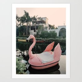 Flamingo Boat in Venice Art Print