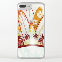 surfboard set  background Clear iPhone Case