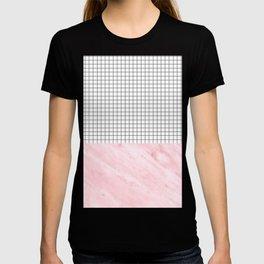 Modern Pink Granite on Grid T-shirt