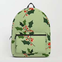 Christmas holly leaf pattern digital art  Backpack