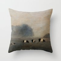 cows Throw Pillows featuring Cows by Claire Whitehead