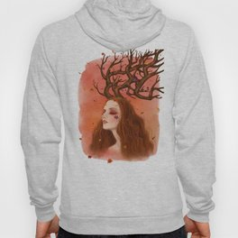 Red Hair Girl with Maple Tree Antler Hoody