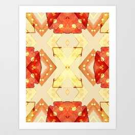 Gold X with Red and Gold Pattern Art Print