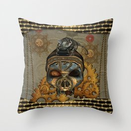 Steampunk, awesome steampunk skull with steampunk rat Throw Pillow