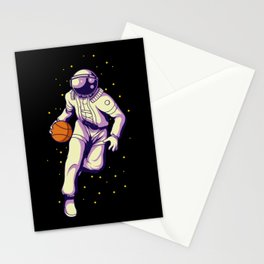 Retro Basketball Player Astronaut - Galactic Sports Stationery Cards