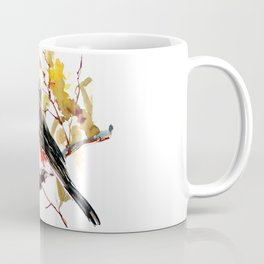 Titmouse and Fall colors foliage bird art design bird lover gift vintage style Coffee Mug