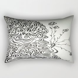 Buddha Blossoms Ink Doodle Rectangular Pillow