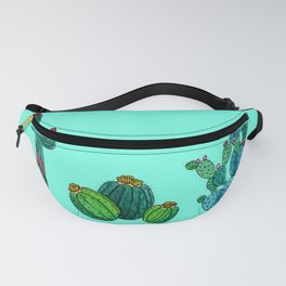 Gouache Watercolor cactus teal background Fanny Pack