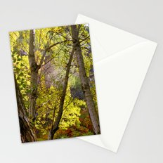 bright leaves in dense forest Stationery Cards