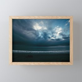 Seaside Stormy Sky Sea Storm Clouds Beach Ocean Framed Mini Art Print