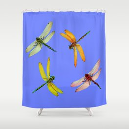 COLORFUL DRAGONFLIES IN BLUE SKY  DESIGN Shower Curtain