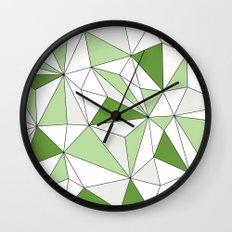 Geo - gray, green and white. Wall Clock