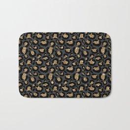 Black Gold Leopard Print Pattern Bath Mat