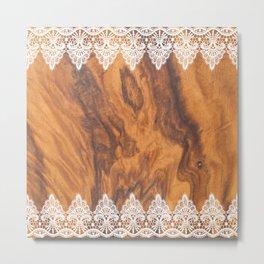Brown Faux Wood& White Vintage Lace Metal Print