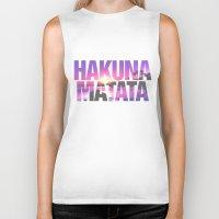 hakuna Biker Tanks featuring Hakuna Matata Vintage Beach Sunset by RexLambo