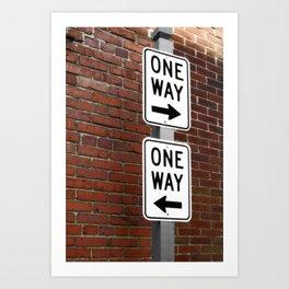 Street Sign One Way photography Art Print