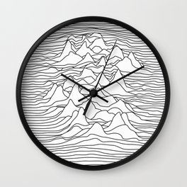 Black and white graphic - sound wave illustration Wall Clock