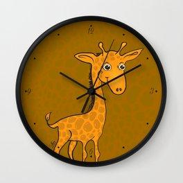 Giraffe - Sepia Brown Wall Clock